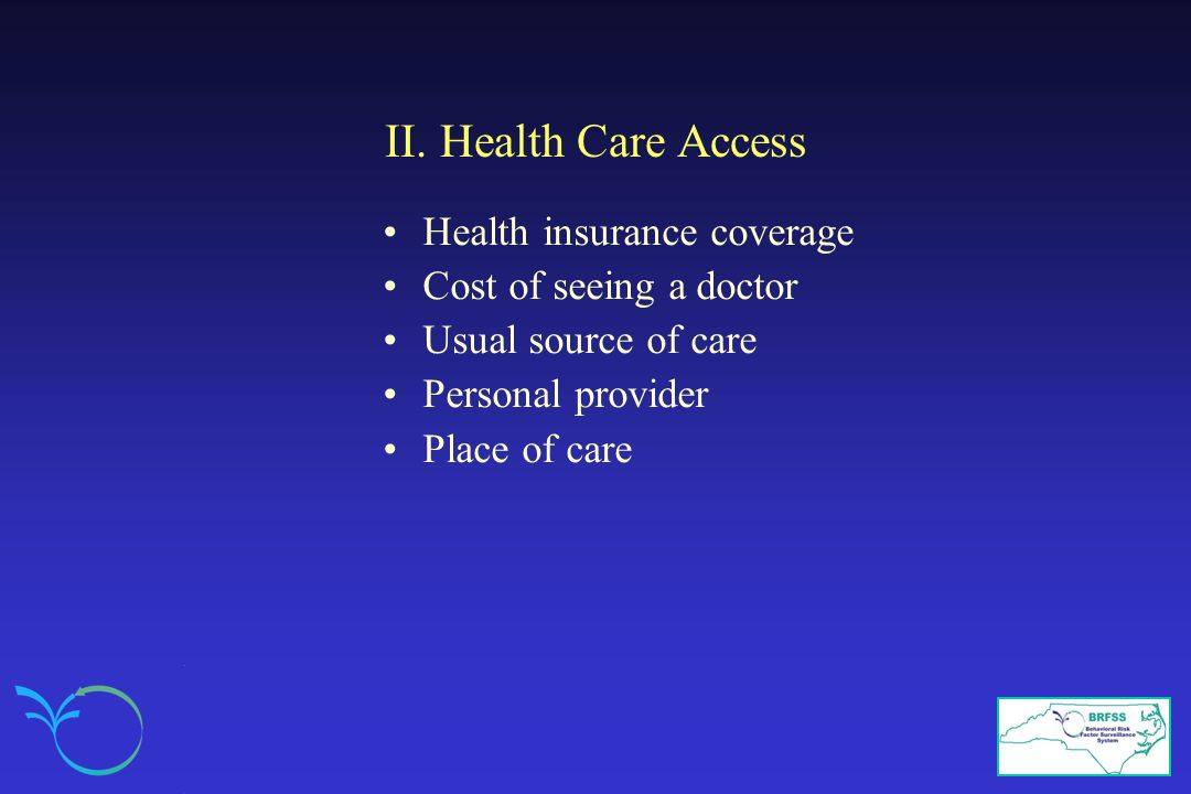 II. Health Care Access Health insurance coverage Cost of seeing a doctor Usual source of care Personal provider Place of care