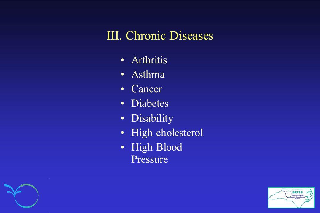 III. Chronic Diseases Arthritis Asthma Cancer Diabetes Disability High cholesterol High Blood Pressure