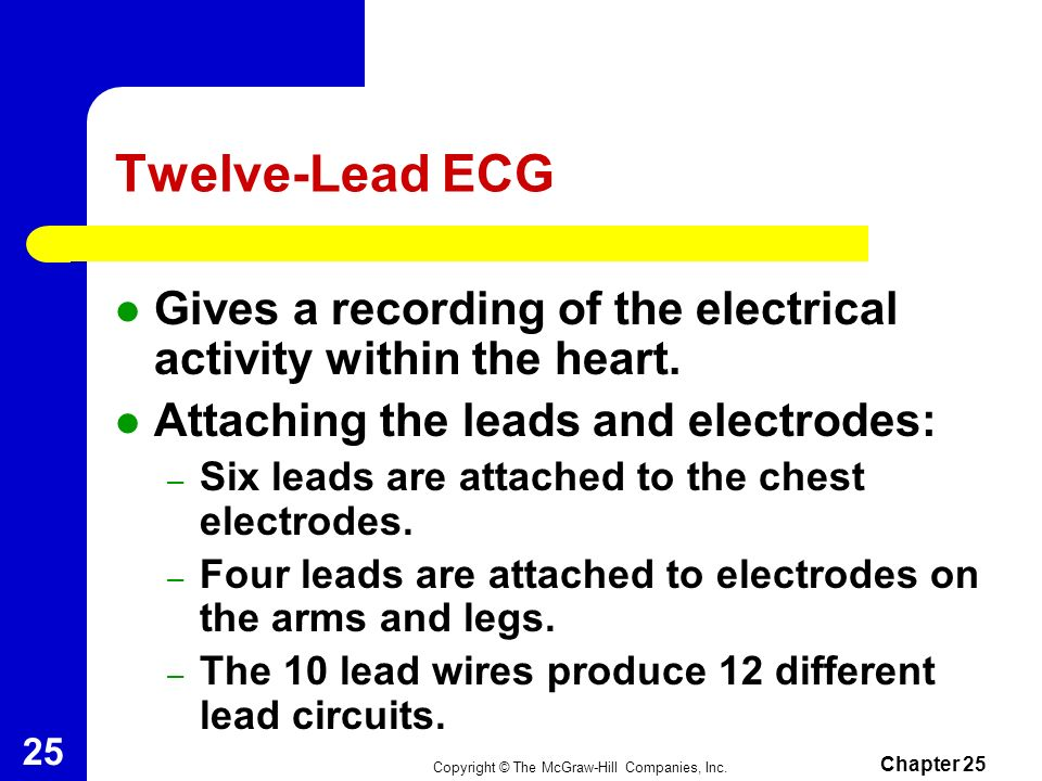Copyright © The McGraw-Hill Companies, Inc. Chapter 25 24 Background for Recording an ECG (cont.) The ECG Waveform – The deflections on a tracing rise
