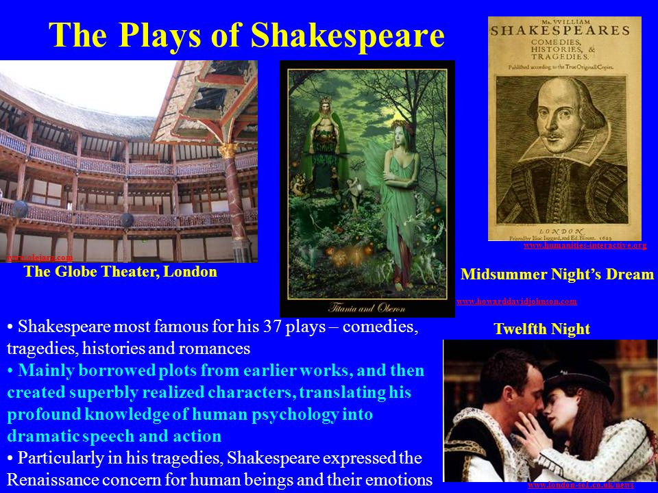 The Plays of Shakespeare Shakespeare most famous for his 37 plays – comedies, tragedies, histories and romances Mainly borrowed plots from earlier wor