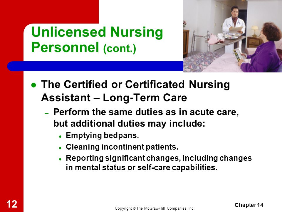 Copyright © The McGraw-Hill Companies, Inc. Chapter 14 11 Unlicensed Nursing Personnel (cont.) The Certified or Certificated Nursing Assistant (cont.)