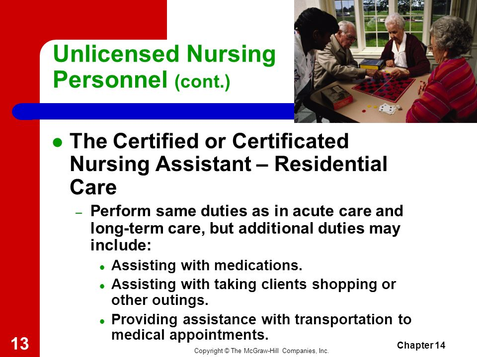 Copyright © The McGraw-Hill Companies, Inc. Chapter 14 12 Unlicensed Nursing Personnel (cont.) The Certified or Certificated Nursing Assistant – Long-