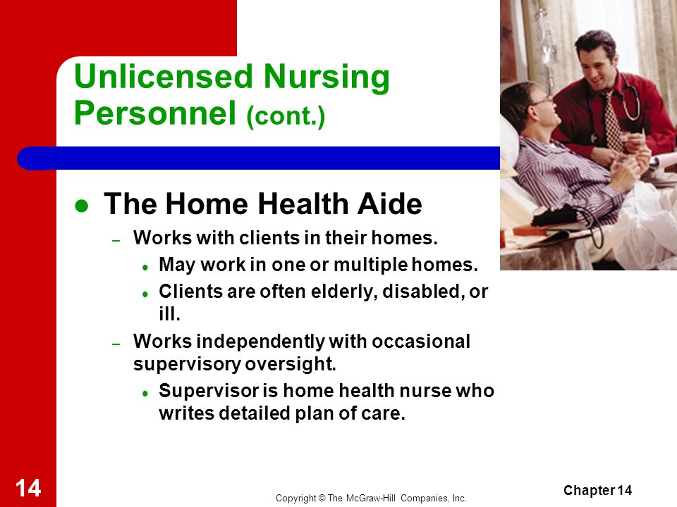 Copyright © The McGraw-Hill Companies, Inc. Chapter 14 13 Unlicensed Nursing Personnel (cont.) The Certified or Certificated Nursing Assistant – Resid