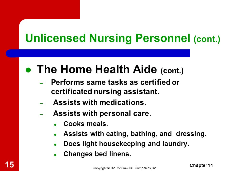 Copyright © The McGraw-Hill Companies, Inc. Chapter 14 14 Unlicensed Nursing Personnel (cont.) The Home Health Aide – Works with clients in their home
