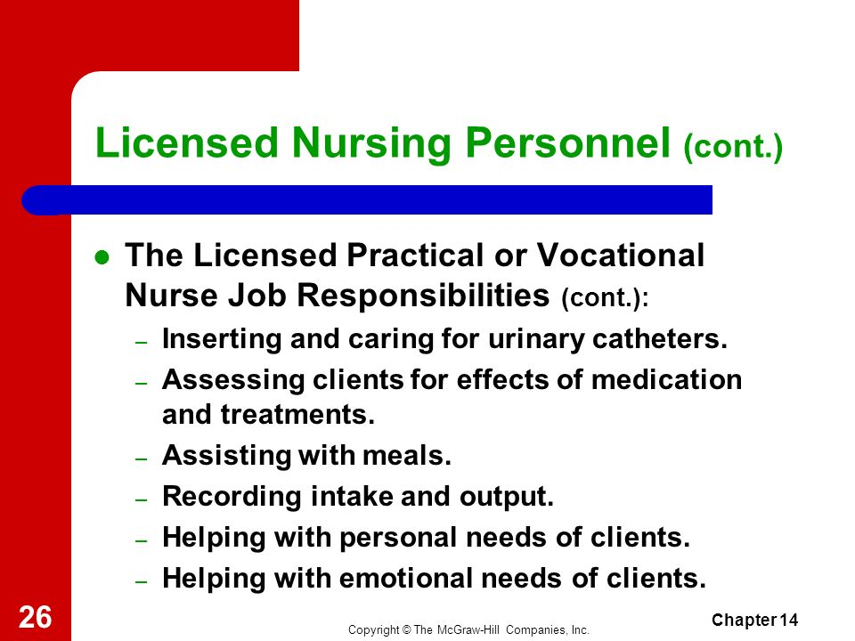 Copyright © The McGraw-Hill Companies, Inc. Chapter 14 25 Licensed Nursing Personnel (cont.) The Licensed Practical or Vocational Nurse Job Responsibi