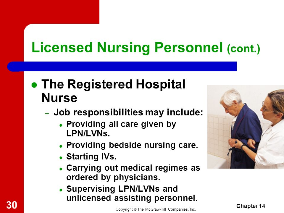 Copyright © The McGraw-Hill Companies, Inc. Chapter 14 29 Licensed Nursing Personnel (cont.) The Registered Nurse (cont.) – Must pass national licensi