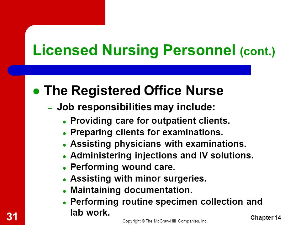 Copyright © The McGraw-Hill Companies, Inc. Chapter 14 30 Licensed Nursing Personnel (cont.) The Registered Hospital Nurse – Job responsibilities may