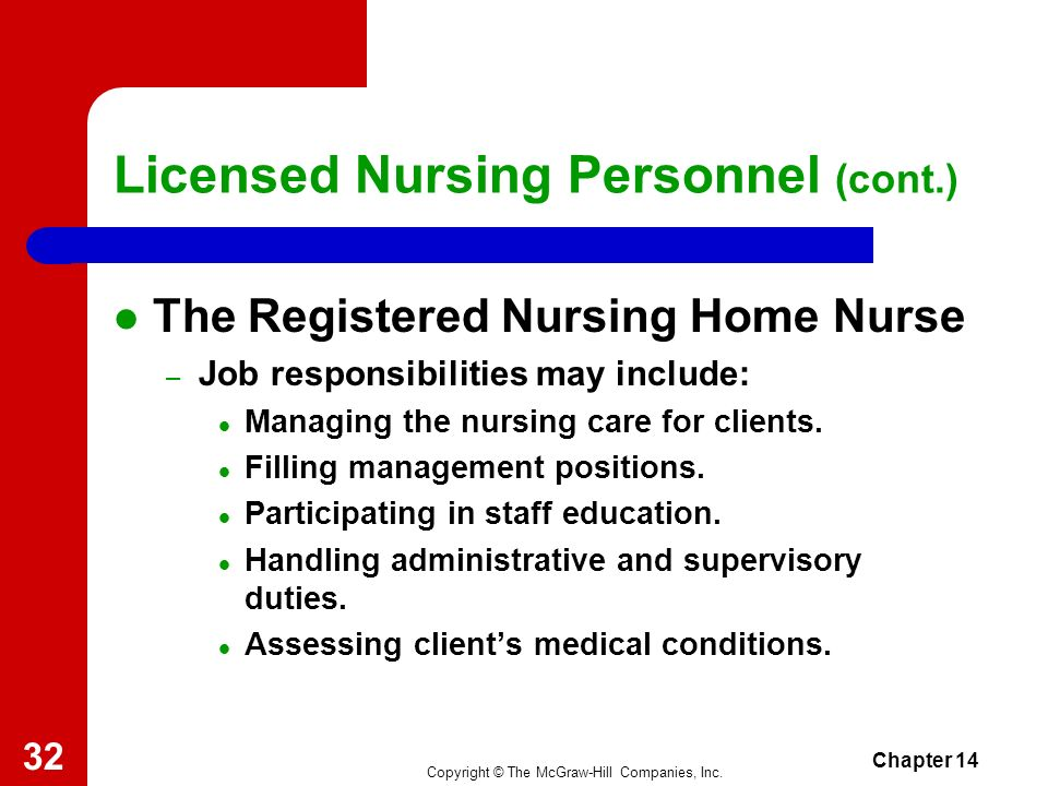 Copyright © The McGraw-Hill Companies, Inc. Chapter 14 31 Licensed Nursing Personnel (cont.) The Registered Office Nurse – Job responsibilities may in