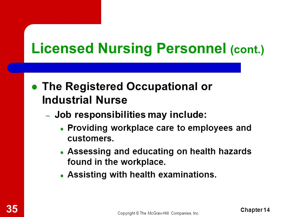 Copyright © The McGraw-Hill Companies, Inc. Chapter 14 34 Licensed Nursing Personnel (cont.) The Registered Public Health Nurse – Job responsibilities