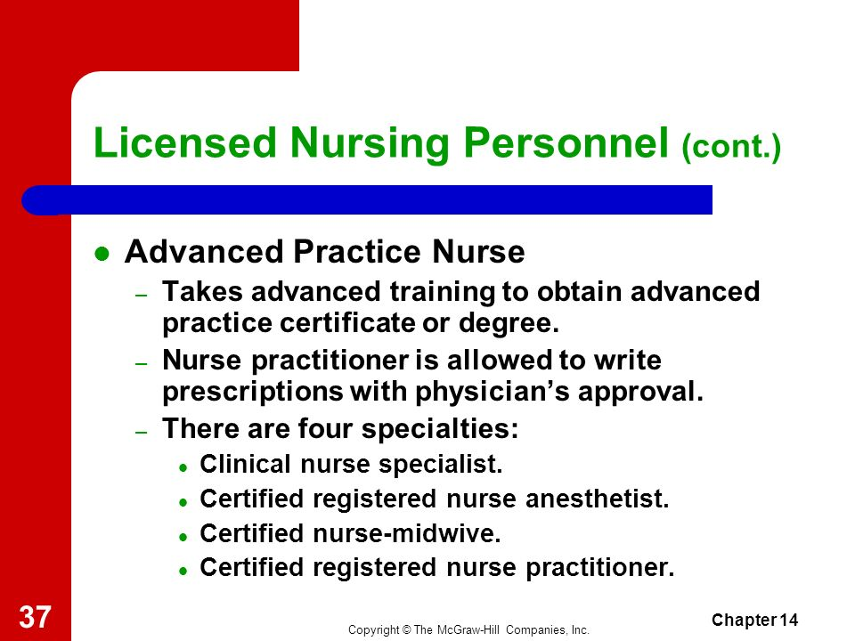 Copyright © The McGraw-Hill Companies, Inc. Chapter 14 36 Licensed Nursing Personnel (cont.) The Registered Head or Supervisory Nurse – Job responsibi