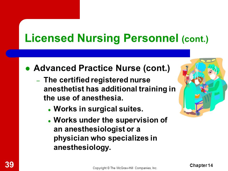 Copyright © The McGraw-Hill Companies, Inc. Chapter 14 38 Licensed Nursing Personnel (cont.) Advanced Practice Nurse (cont.) – The Clinical Nurse Spec
