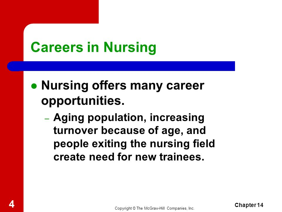 Copyright © The McGraw-Hill Companies, Inc. Chapter 14 3 Careers in Nursing 14-1 Unlicensed Nursing Personnel Licensed Nursing Personnel