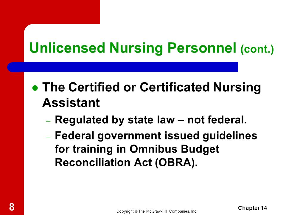 Copyright © The McGraw-Hill Companies, Inc. Chapter 14 7 Unlicensed Nursing Personnel Need generated by the rapidly rising cost of health care. Work u