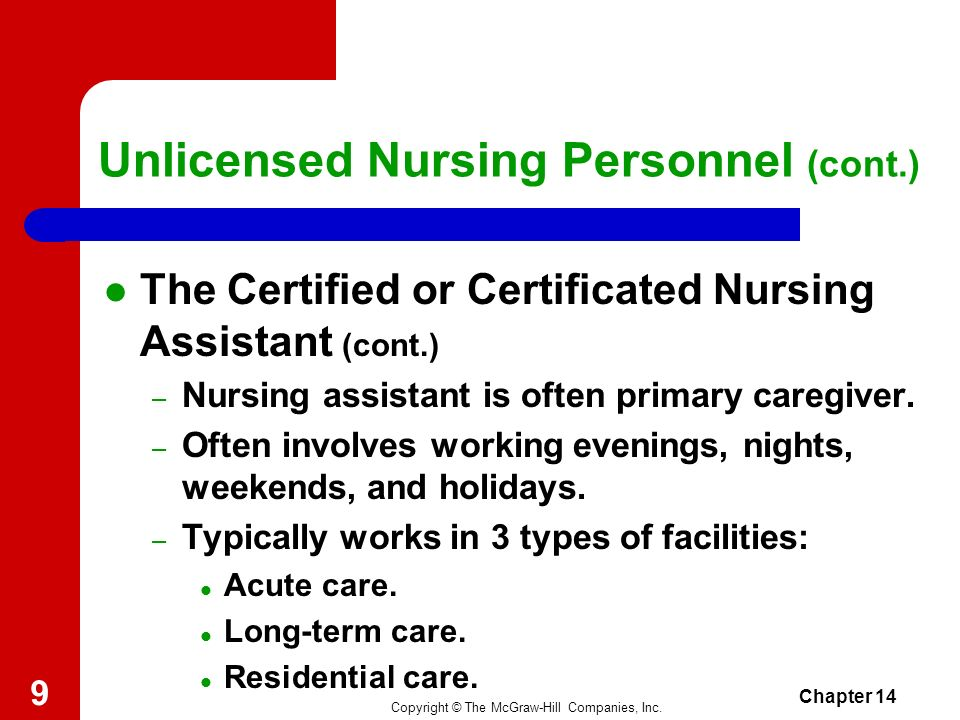 Copyright © The McGraw-Hill Companies, Inc. Chapter 14 8 Unlicensed Nursing Personnel (cont.) The Certified or Certificated Nursing Assistant – Regula