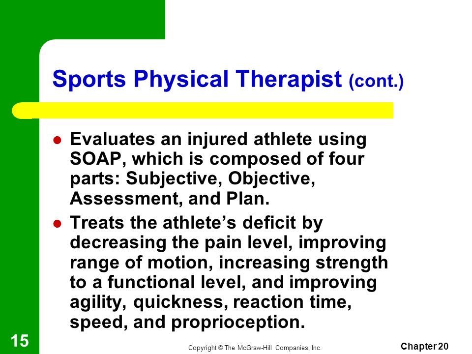 Copyright © The McGraw-Hill Companies, Inc. Chapter 20 14 Sports Physical Therapist Diagnoses an injured athletes problem. May plan exercises and moda
