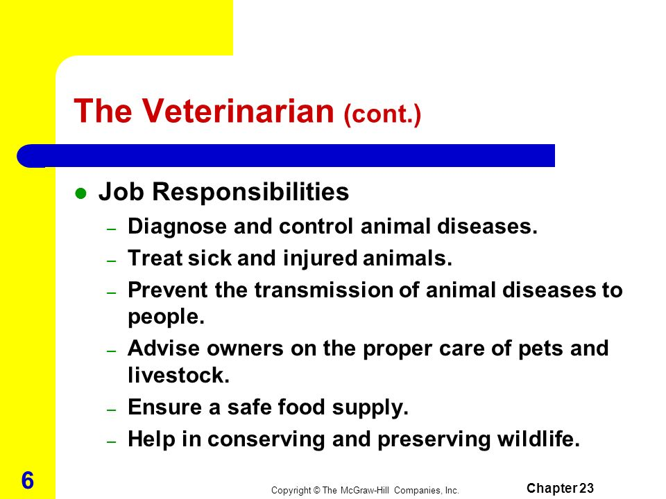 Copyright © The McGraw-Hill Companies, Inc. Chapter 23 5 The Veterinarian Veterinarians study at least five species, the most common being dogs, cats,