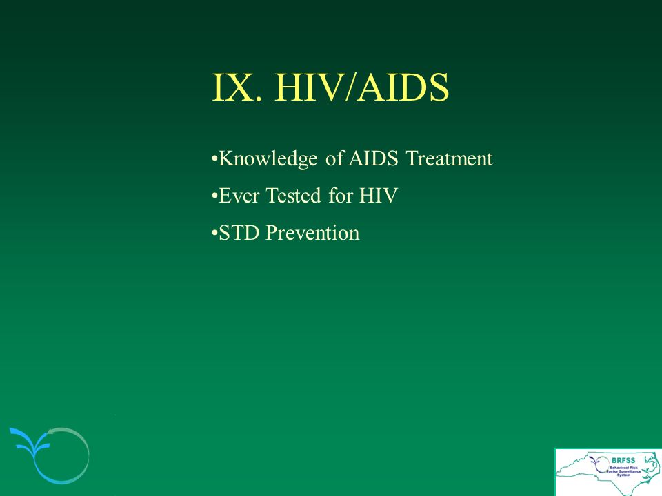 IX. HIV/AIDS Knowledge of AIDS Treatment Ever Tested for HIV STD Prevention