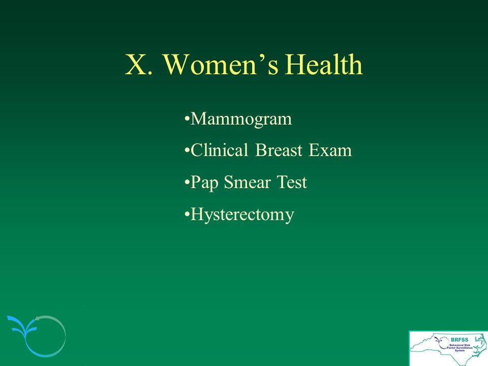 X. Womens Health Mammogram Clinical Breast Exam Pap Smear Test Hysterectomy
