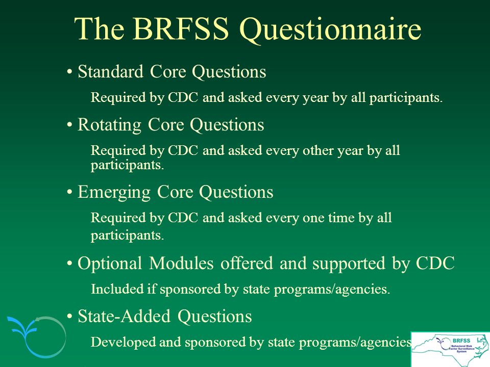 The BRFSS Questionnaire Standard Core Questions Required by CDC and asked every year by all participants.