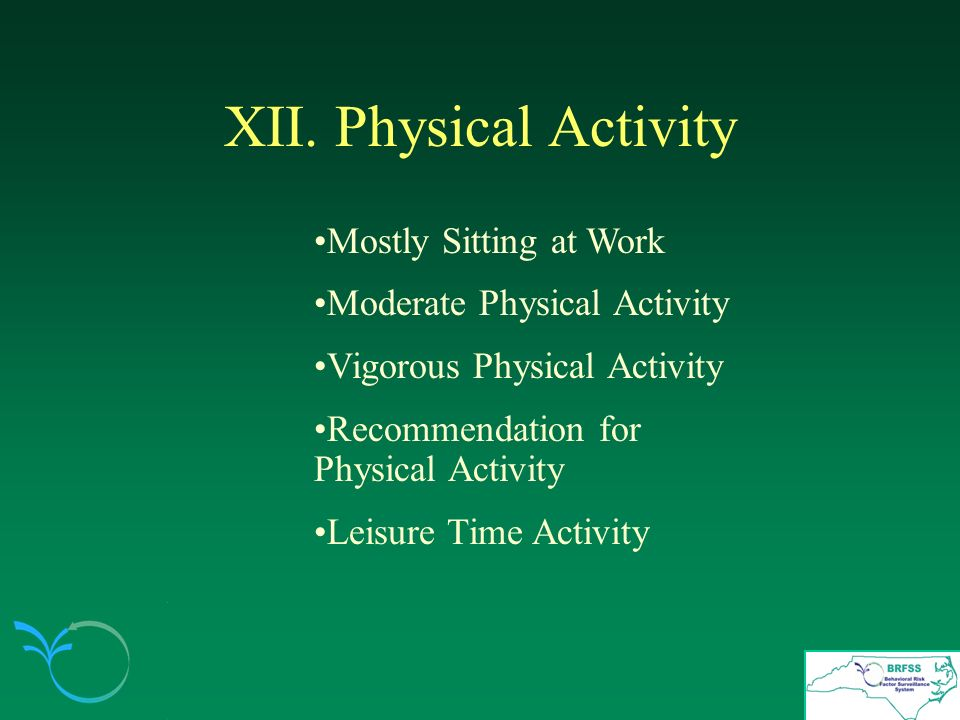 XII. Physical Activity Mostly Sitting at Work Moderate Physical Activity Vigorous Physical Activity Recommendation for Physical Activity Leisure Time