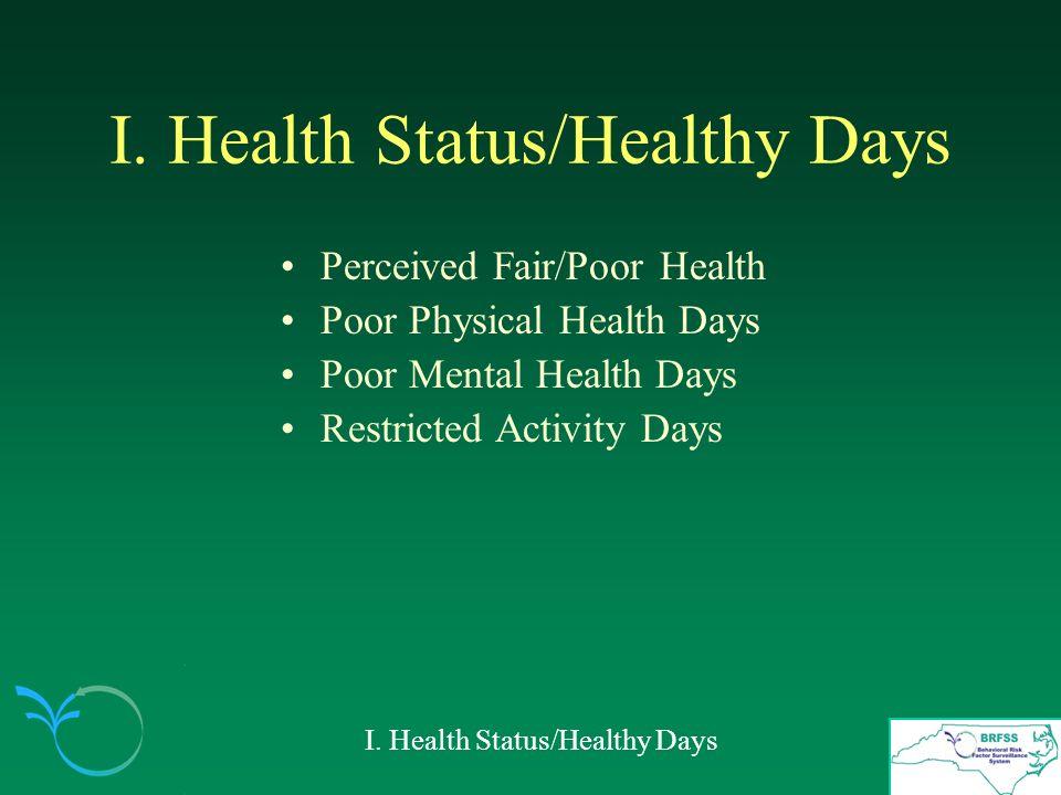 I. Health Status/Healthy Days Perceived Fair/Poor Health Poor Physical Health Days Poor Mental Health Days Restricted Activity Days I. Health Status/H