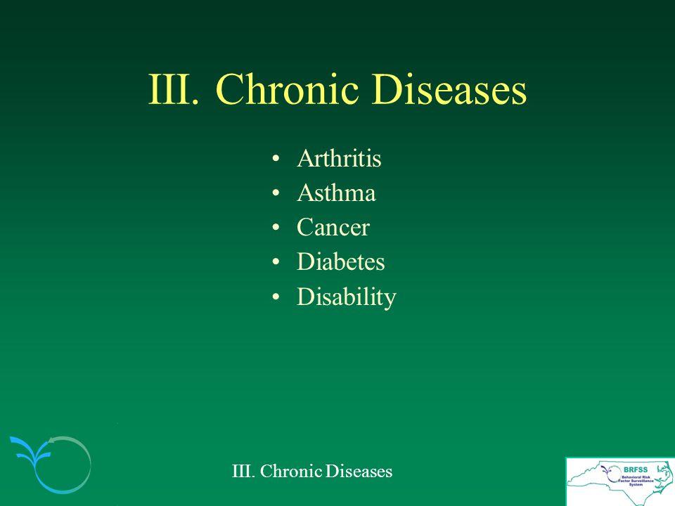 III. Chronic Diseases Arthritis Asthma Cancer Diabetes Disability III. Chronic Diseases
