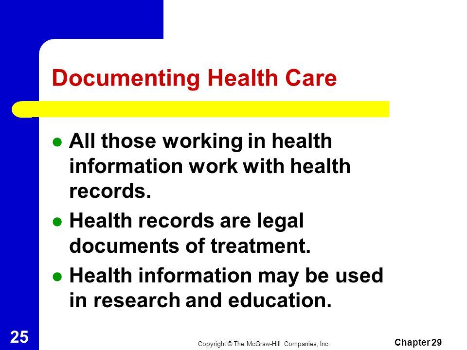 Copyright © The McGraw-Hill Companies, Inc. Chapter 29 24 Documenting Health Care 29-2 Documenting Health Care Diagnostic Coding Procedural Coding Ver