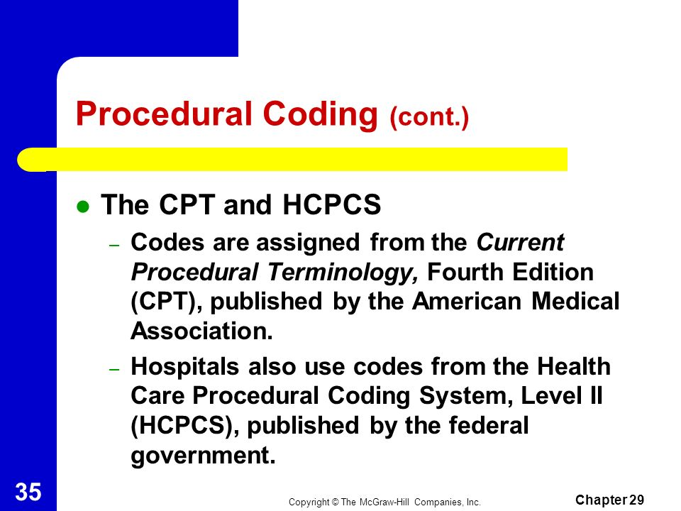 Copyright © The McGraw-Hill Companies, Inc. Chapter 29 34 Procedural Coding Procedures, such as X ray and services, are assigned codes.