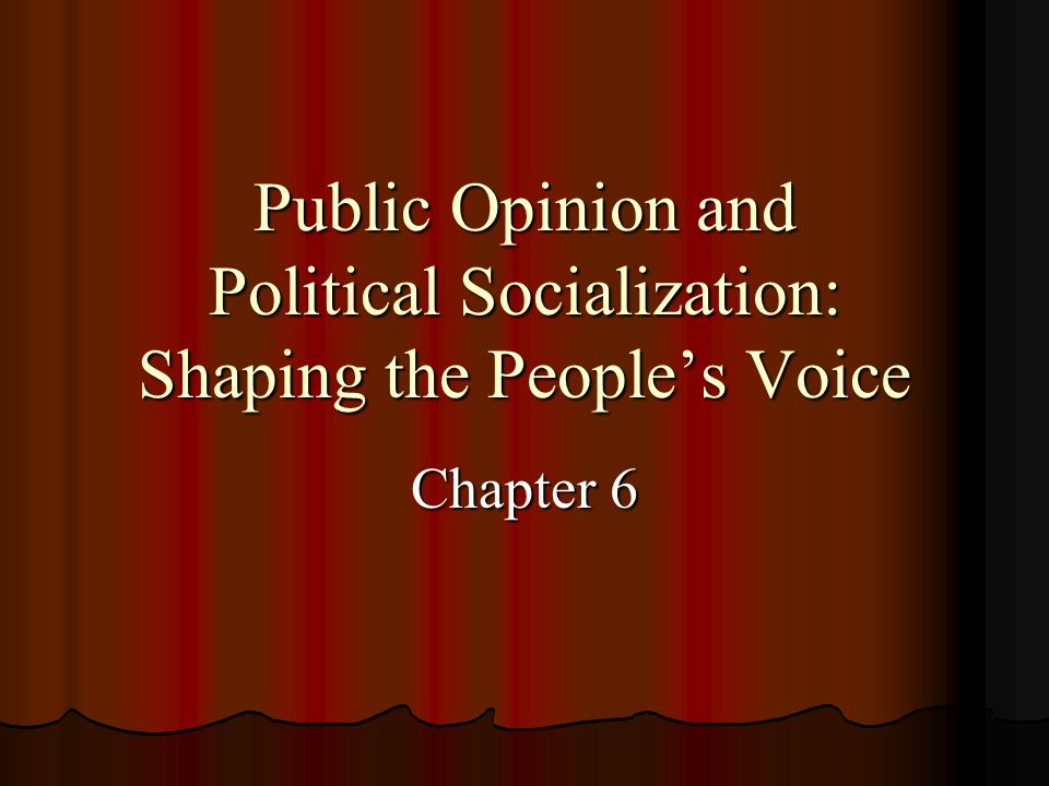 Public Opinion and Political Socialization: Shaping the Peoples Voice Chapter 6