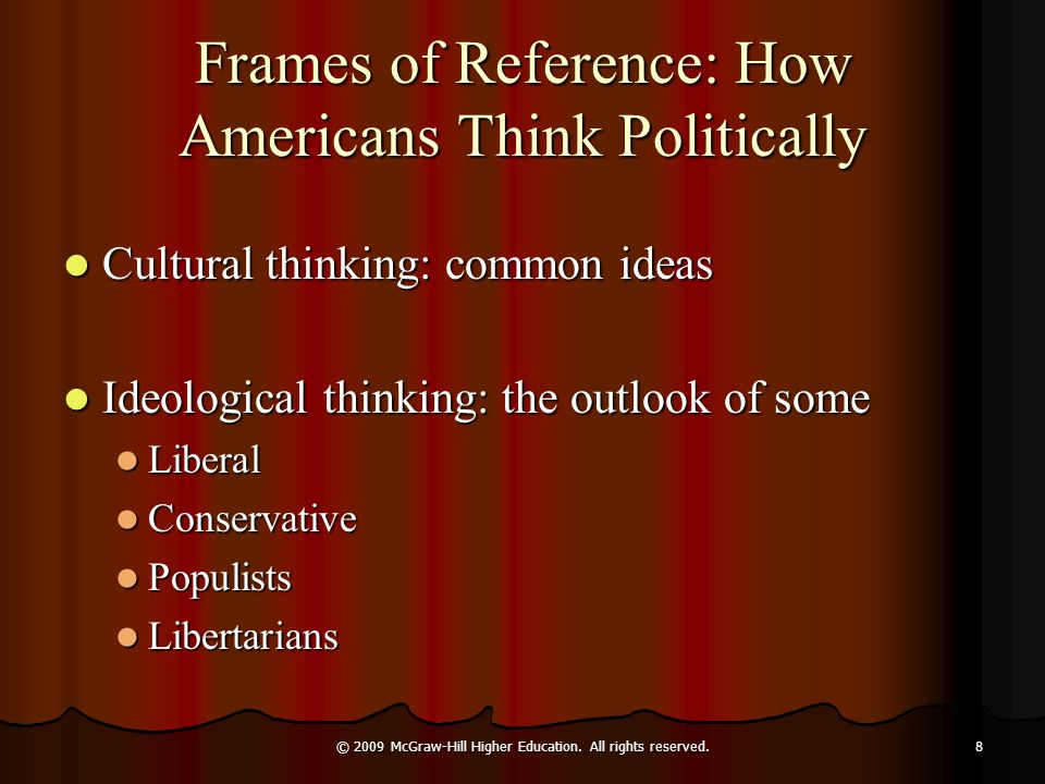 Frames of Reference: How Americans Think Politically Cultural thinking: common ideas Cultural thinking: common ideas Ideological thinking: the outlook