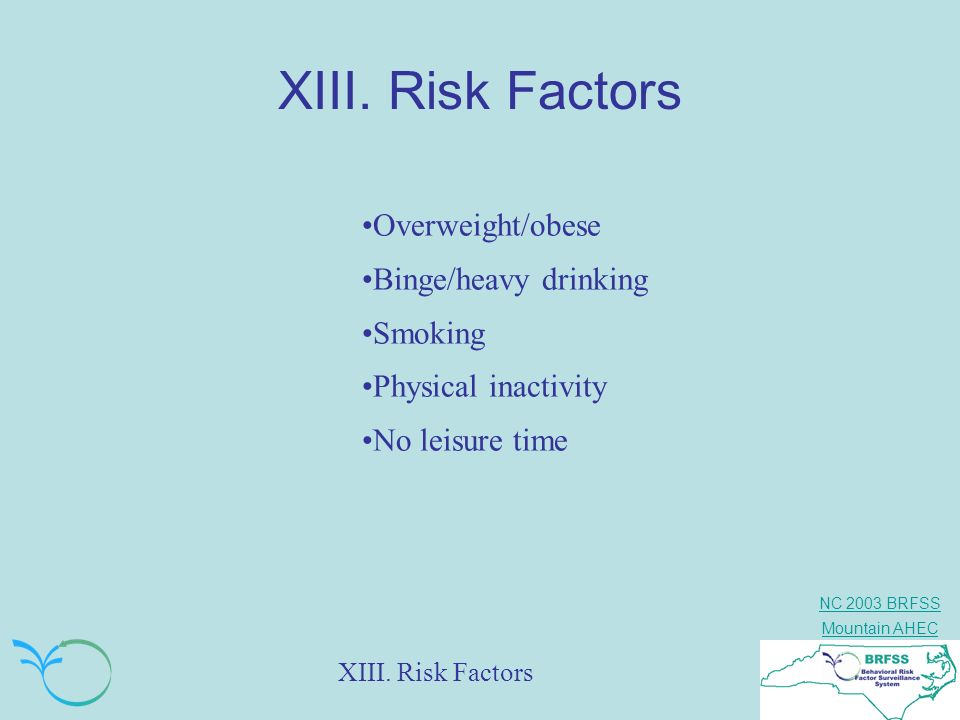 NC 2003 BRFSS Mountain AHEC XIII. Risk Factors Overweight/obese Binge/heavy drinking Smoking Physical inactivity No leisure time XIII. Risk Factors