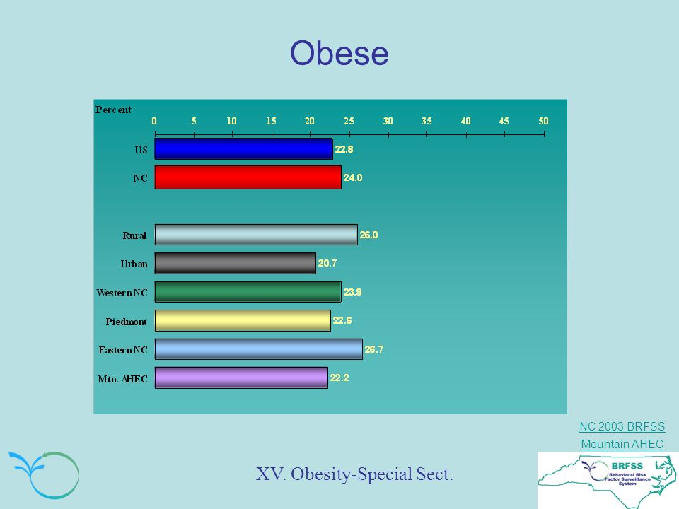 NC 2003 BRFSS Mountain AHEC Obese XV. Obesity-Special Sect.