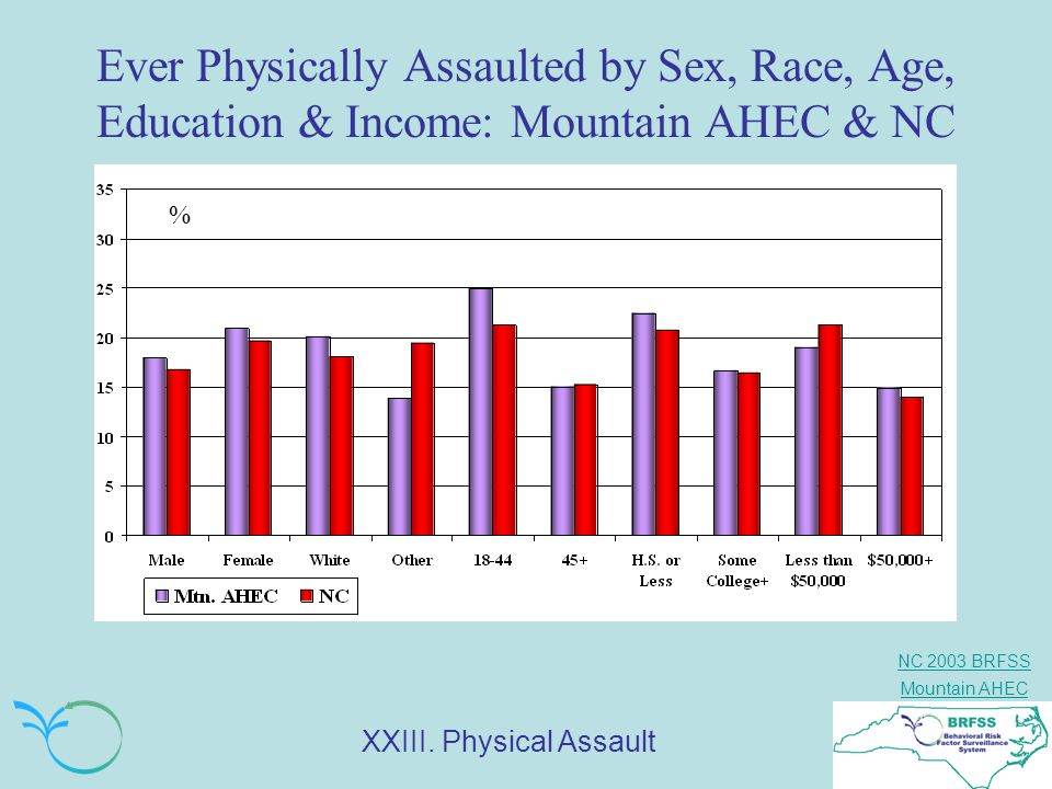 NC 2003 BRFSS Mountain AHEC Ever Physically Assaulted by Sex, Race, Age, Education & Income: Mountain AHEC & NC % XXIII. Physical Assault