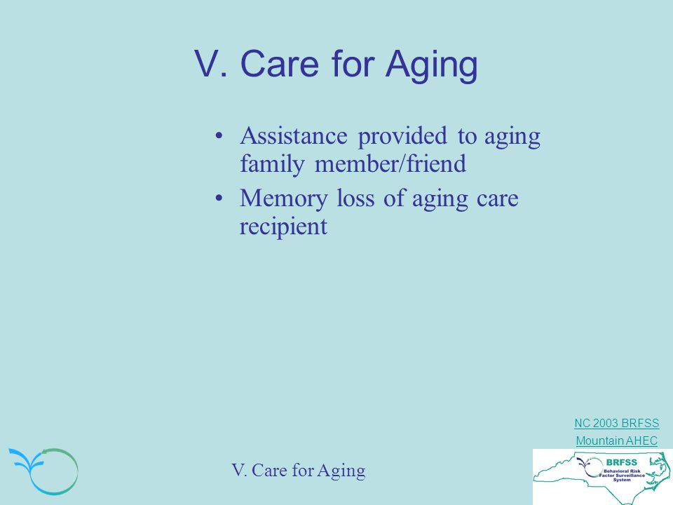 NC 2003 BRFSS Mountain AHEC V. Care for Aging Assistance provided to aging family member/friend Memory loss of aging care recipient V. Care for Aging