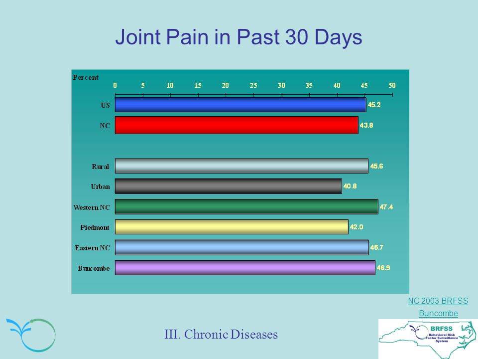NC 2003 BRFSS Buncombe Joint Pain in Past 30 Days III. Chronic Diseases
