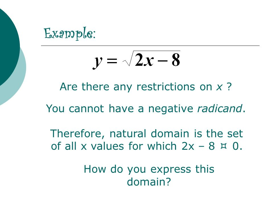 Therefore, natural domain is the set of all x values for which 2x – 8 0. Are there any restrictions on x ? You cannot have a negative radicand. Exampl