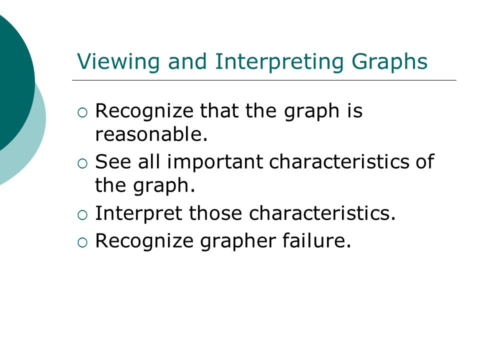 Viewing and Interpreting Graphs Recognize that the graph is reasonable. See all important characteristics of the graph. Interpret those characteristic