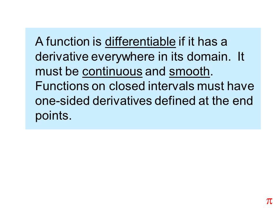 A function is differentiable if it has a derivative everywhere in its domain. It must be continuous and smooth. Functions on closed intervals must hav
