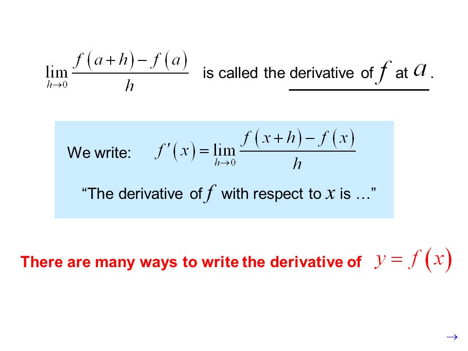 is called the derivative of at. We write: The derivative of f with respect to x is … There are many ways to write the derivative of