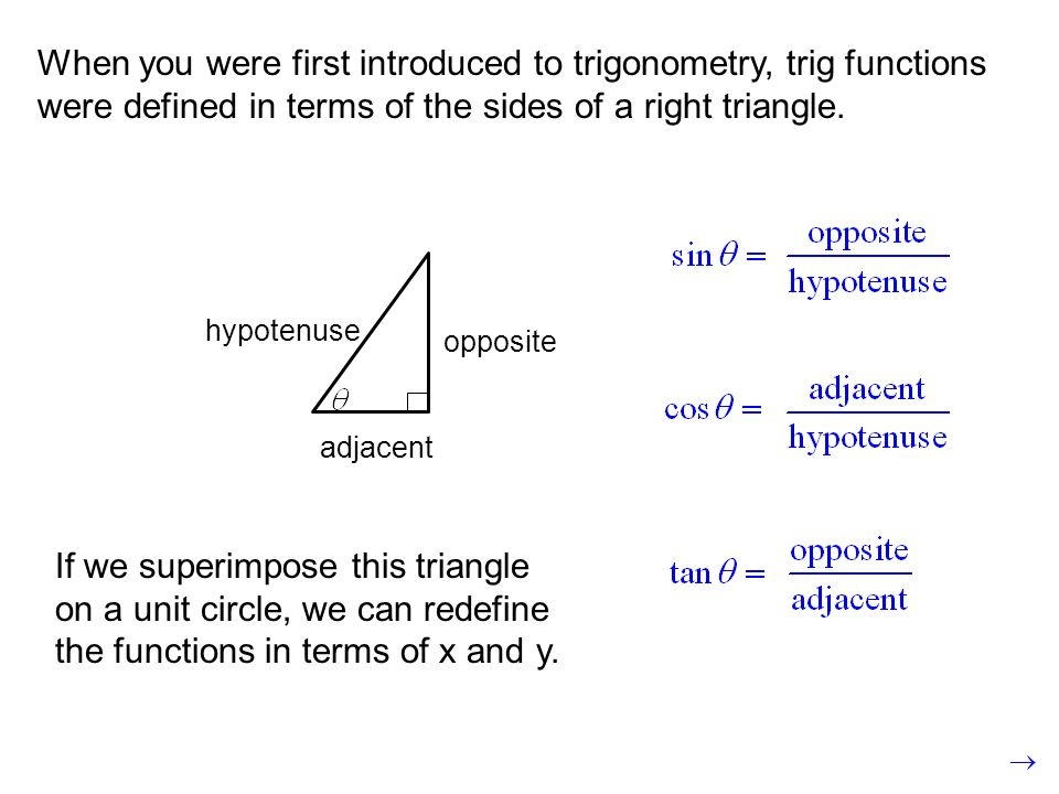 When you were first introduced to trigonometry, trig functions were defined in terms of the sides of a right triangle. opposite hypotenuse adjacent If