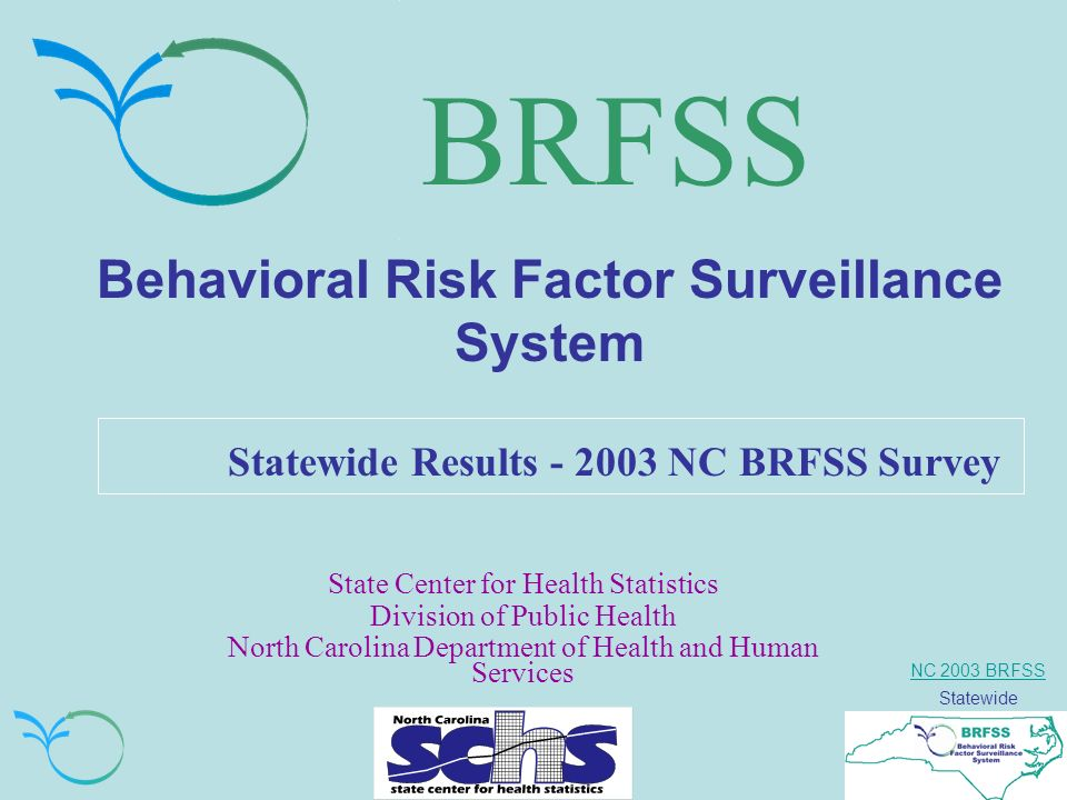 NC 2003 BRFSS Statewide BRFSS Behavioral Risk Factor Surveillance System Statewide Results NC BRFSS Survey State Center for Health Statistics Division of Public Health North Carolina Department of Health and Human Services