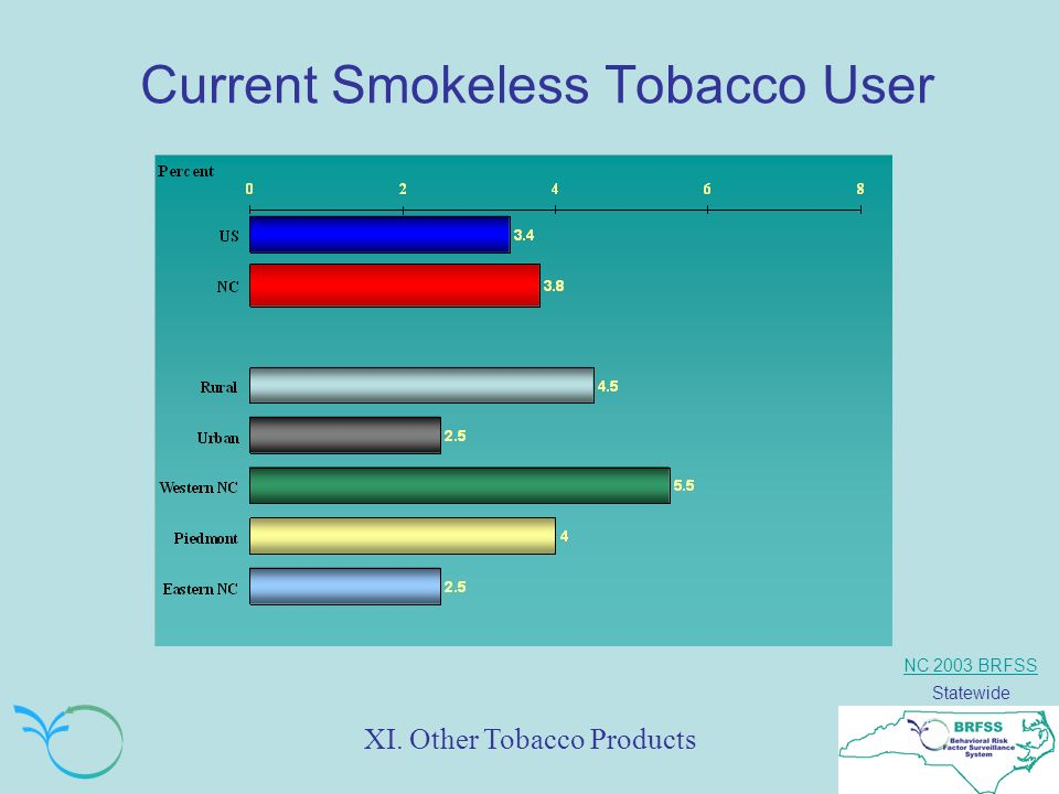 NC 2003 BRFSS Statewide Current Smokeless Tobacco User XI. Other Tobacco Products