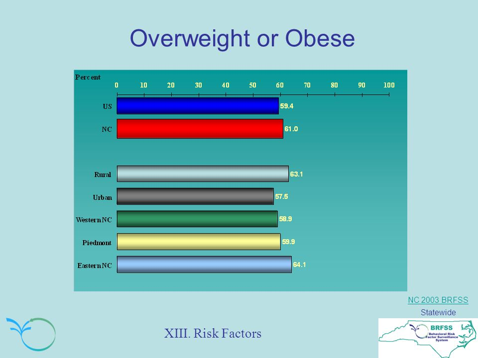 NC 2003 BRFSS Statewide Overweight or Obese XIII. Risk Factors