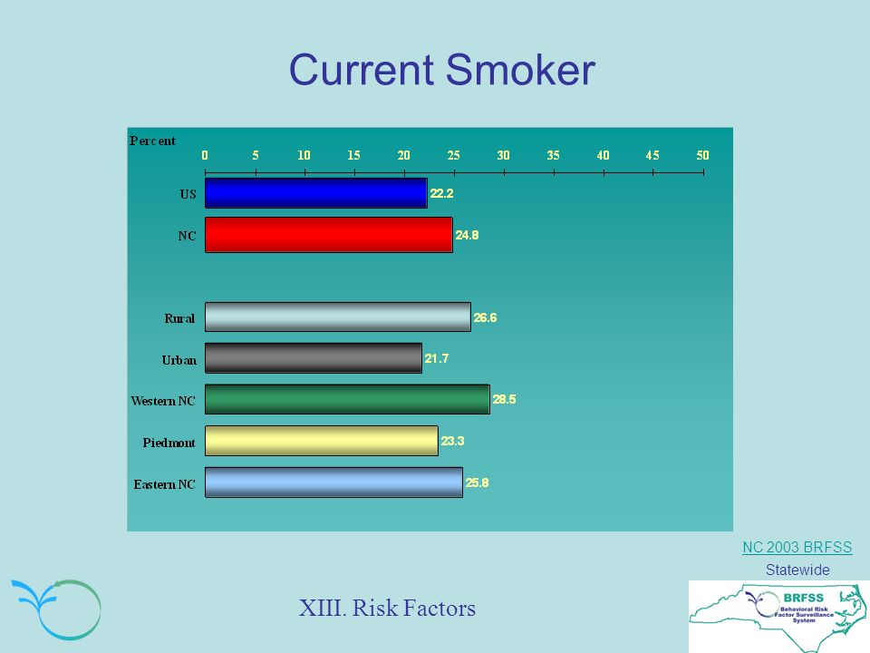 NC 2003 BRFSS Statewide Current Smoker XIII. Risk Factors