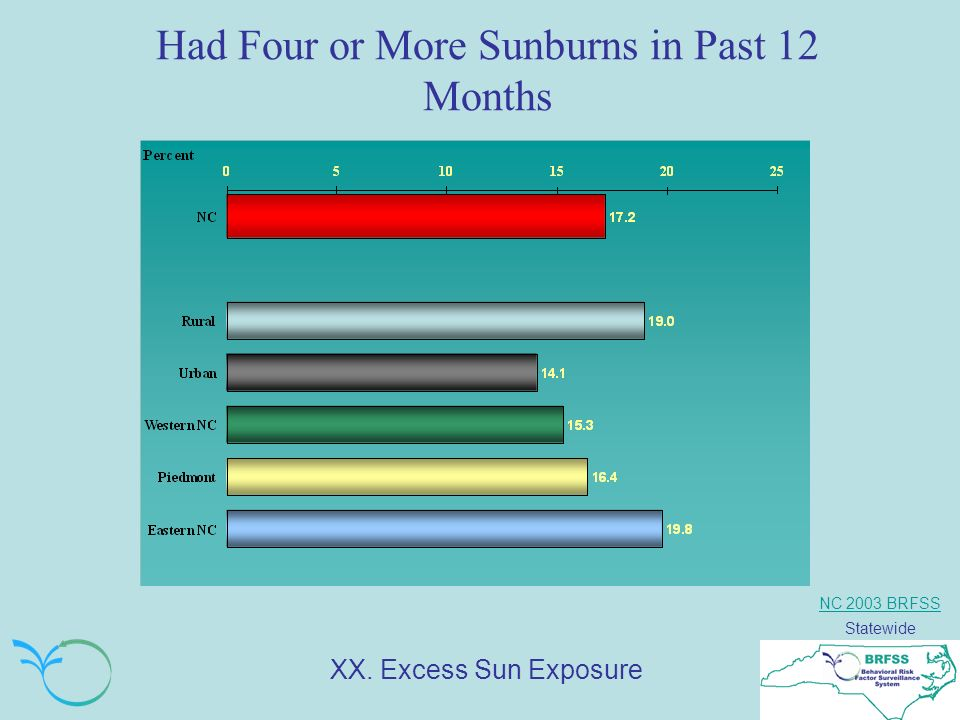 NC 2003 BRFSS Statewide Had Four or More Sunburns in Past 12 Months XX. Excess Sun Exposure