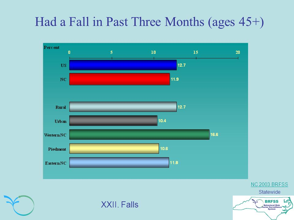 NC 2003 BRFSS Statewide Had a Fall in Past Three Months (ages 45+) XXII. Falls