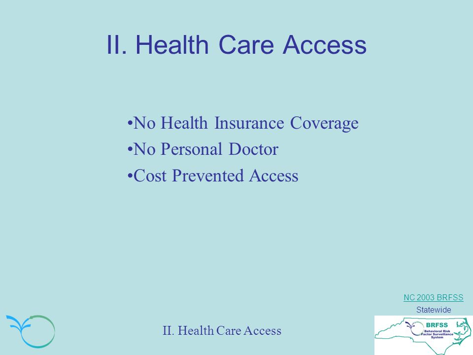 NC 2003 BRFSS Statewide II. Health Care Access No Health Insurance Coverage No Personal Doctor Cost Prevented Access