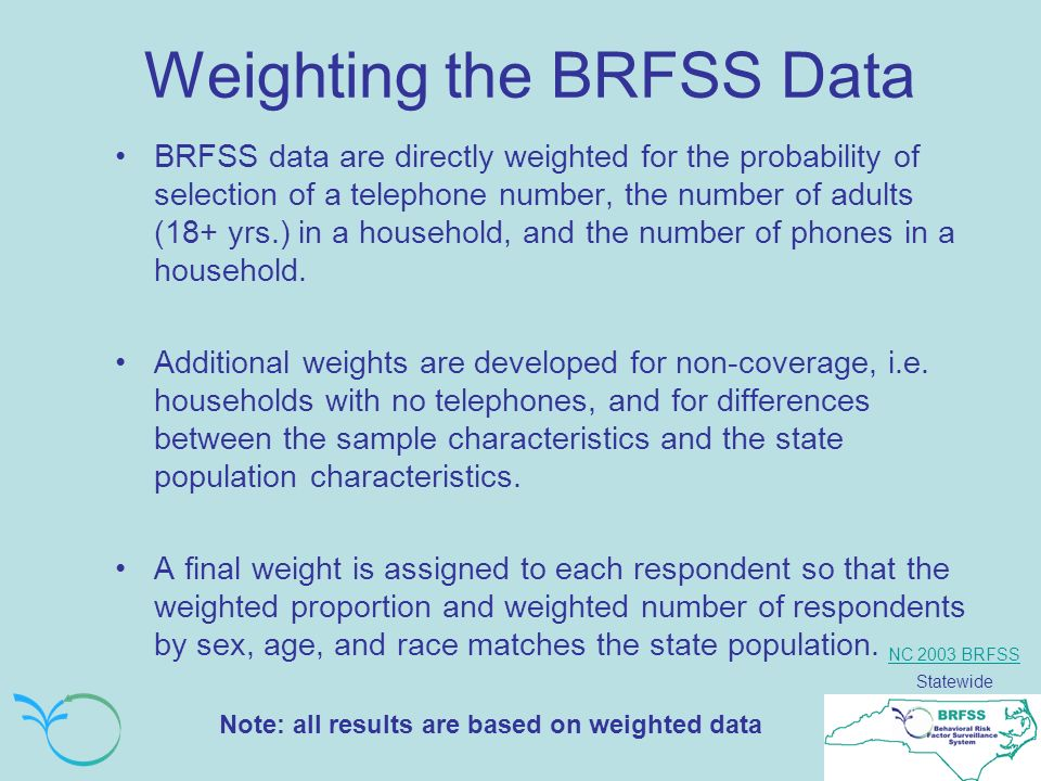 NC 2003 BRFSS Statewide Weighting the BRFSS Data BRFSS data are directly weighted for the probability of selection of a telephone number, the number of adults (18+ yrs.) in a household, and the number of phones in a household.