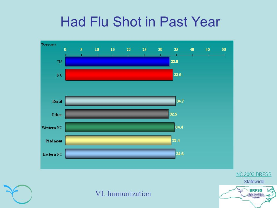 NC 2003 BRFSS Statewide Had Flu Shot in Past Year VI. Immunization