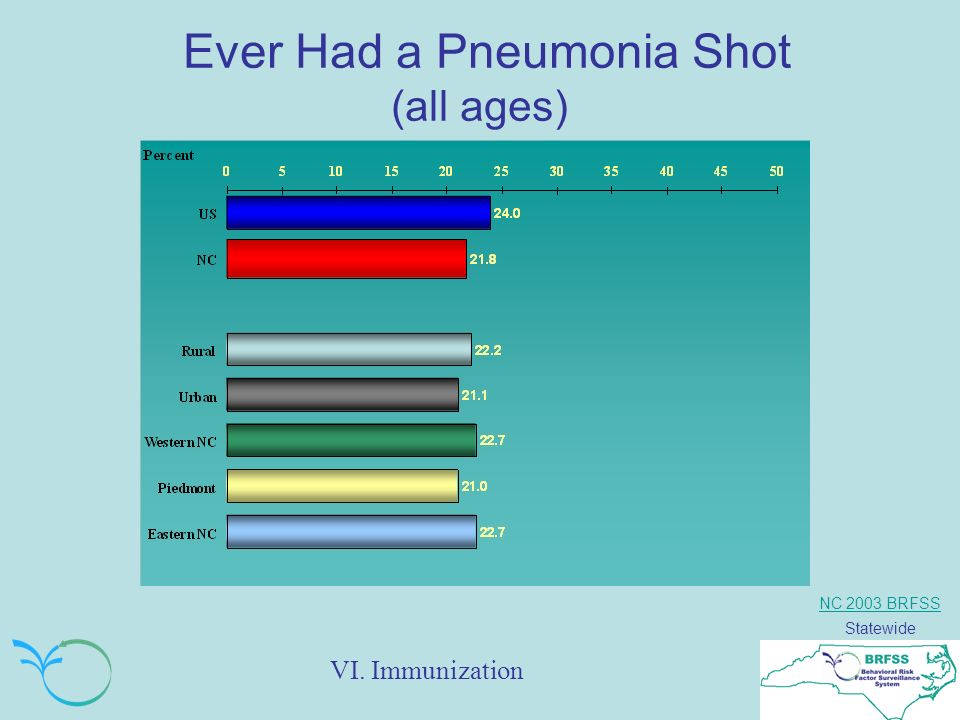 NC 2003 BRFSS Statewide Ever Had a Pneumonia Shot (all ages) VI. Immunization